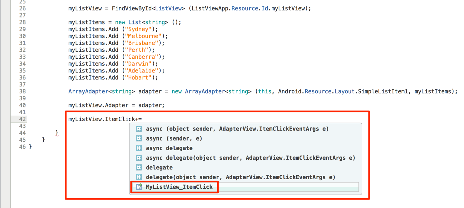 Adding click events to a ListView in Android with Xamarin – CodeMahal