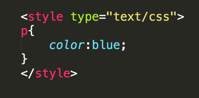 Adding CSS using the style tag in the head section.