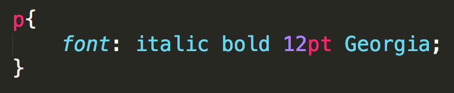Font property values on one line in a CSS file.