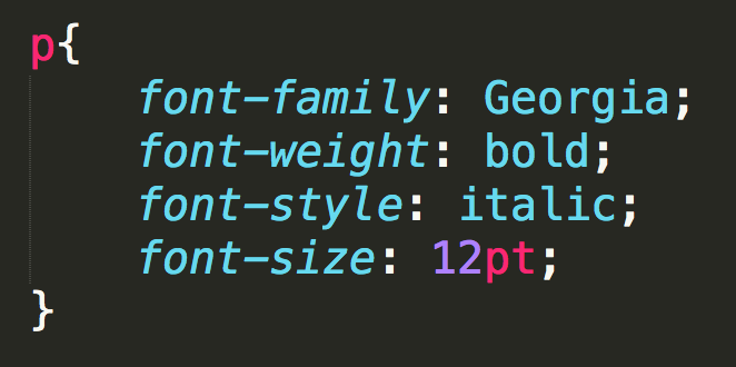 Font properties on individual lines in CSS file.