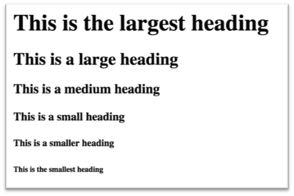 Headings of different sizes