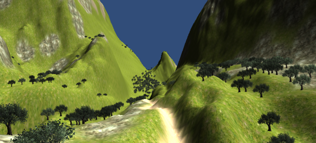 A basic terrain being navigated in Play mode (using lower quality preview settings)