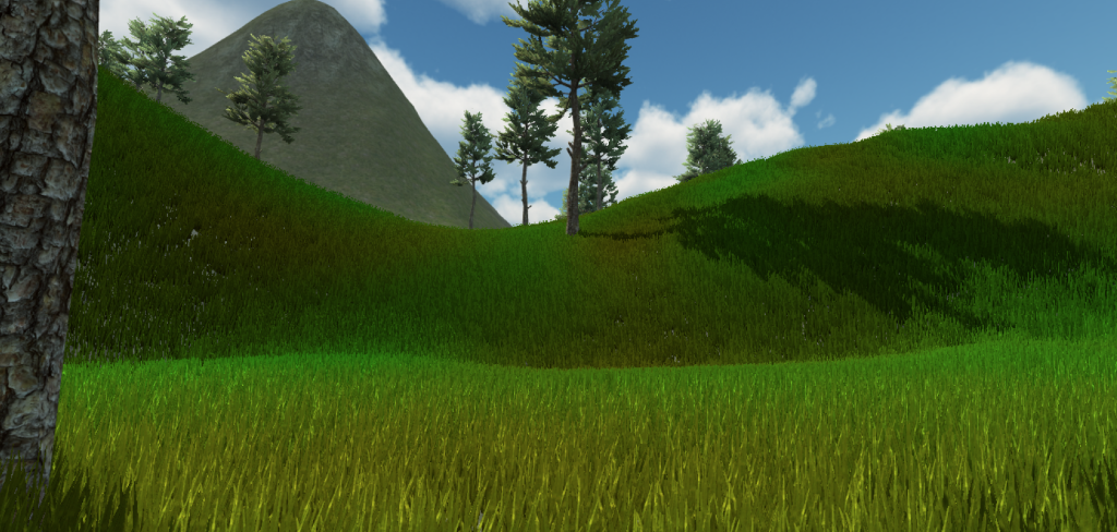 Grass rendered in first person view.