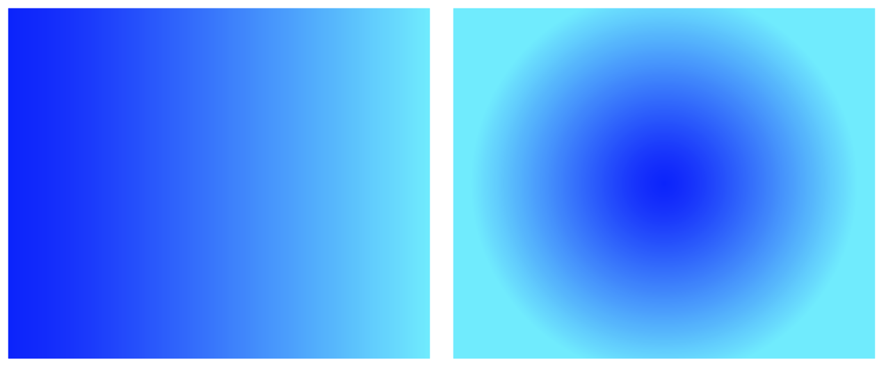 Linear gradient (left) and radial gradient (right).
